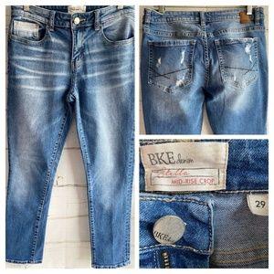 BKE Stella Mid Rise Crop Mid Jeans Destroyed sz 29